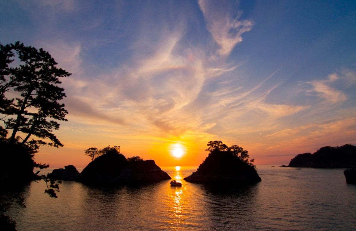 堂島與夕陽